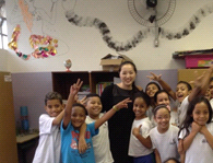 Dr. Gail Chan from the Good Behavior Game Team visiting a classroom in Brazil.